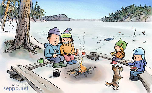 Family at the campfire